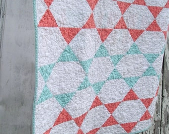 Handmade Baby Quilt or Lap Quilt - Lucky Stars - All Cotton