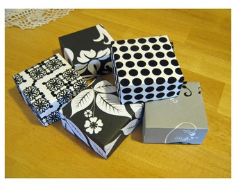 Black on White - Flocking - 20 FOUR INCH Gift Boxes - BoxesSquared