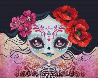 Extra Large Modern Cross Stitch Kit Sugar Skull By Sandra Vargas - Day Of The Dead