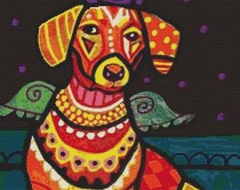 Modern Cross Stitch 'Dachshund Angel Doxie', Heather Galler, Dog Angel CrossStitch Kit, Colorful Art, Dog Cross Stitch, Sausage Dog, Weiner