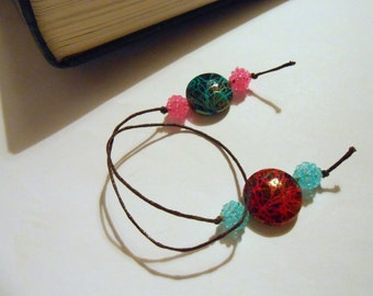 Beaded Bookmark  - Red and Blue - Book Thong - Gift