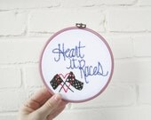 the Heart it Races hoop // one of a kind, embroidery hoop