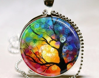 Rainbow TREE of LIFE Altered Art GLASS Pendant Charm Necklace