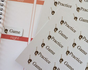 Planner Stickers 36 Baseball Game Practice Stickers