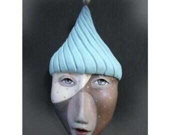 Wisdom's Folly - Mask Sculpture, Ceramic Face Pendant, Original Mask Art, Art to Wear