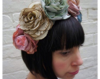 Vintage silk and recycled fabric rose crown garland wedding headpiece