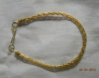 Brass Viking Wire Knit Bracelet with Hammered Brass clasp