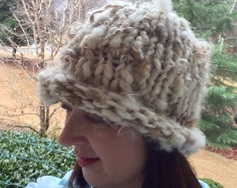 Knit Snow Hat Thick Warm Beanie Hand Knitted Cloche Natural Woodland Cap Hand Spun Yarn OOAK