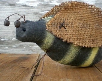Primitive Folk Art Busy Bee Summer Time Shelf Sitter Cottage Chic Ornament Black And Yellow