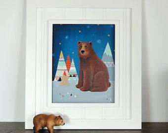 Bear Art Print - Bear Nursery - Tribal Nursery Art - Bear Decor - Bear Print - Art for Kids - Mountain Print - Dream Bear 8x10 Print