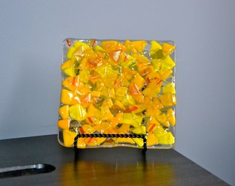 Scrap Glass in Yellow Fused Glass Plate
