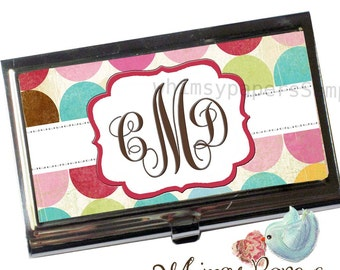 Personalized Business Card Holder - Polka Dot
