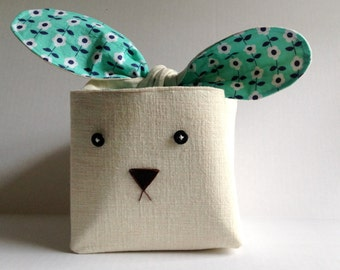 Bunny Rabbit Linen Storage Basket in Mint Green with Blue Flowers