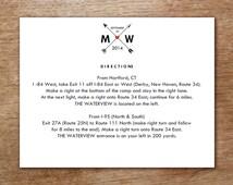 Enclosure Card Template - Monogram Arrow - Hearts and Arrows Printable Blank Wedding Card - Wedding Direction Card - Wedding Registry Card