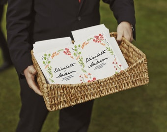 Printable Wedding Program - Water Color Flowers - PDF Wedding Program - Hand Painted Flowers - Bright Floral Order of Service Download - PDF