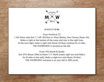 Printable Wedding Information Card - Monogram Arrow - Hearts and Arrows Printable Blank Wedding Card - Wedding Direction Card - Wedding Card