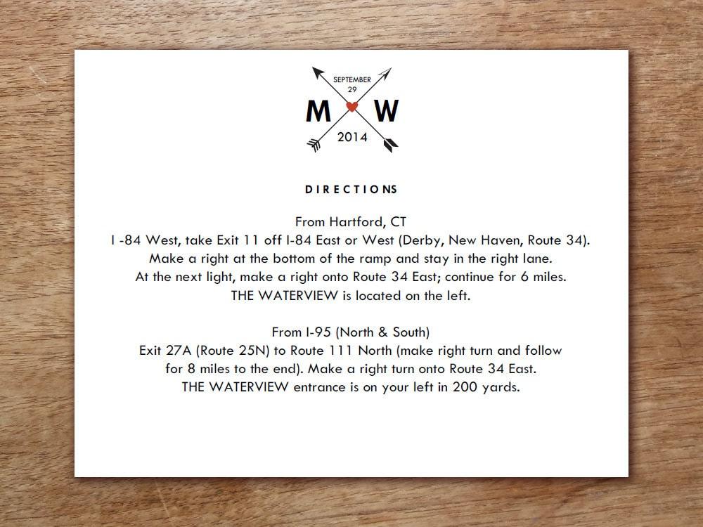 Printable Wedding Information Card Monogram Arrow Hearts