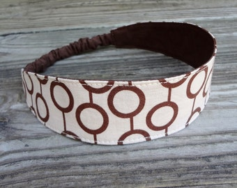 Fabric Headband with Elastic: Brown and Beige Print Reversible