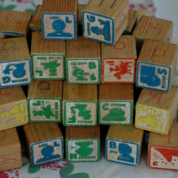 Sesame Street Wooden Children's Block Set 45 By Mantisvintage