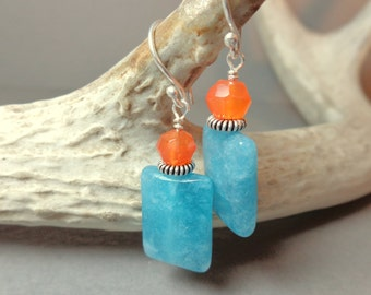 Angelite Earrings - Carnelian Earrings - Blue Orange - Natural Stone Jewelry Gemstone Earrings - Gifts for Her  - Dangle Earrings