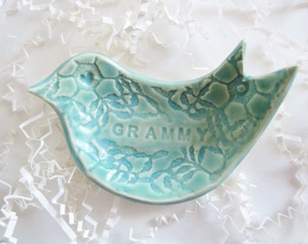 Gramma ring holder, dove jewelry dish, Grandmother, Grammy, Nonna gift, Mothers day gift, Nana gift, ceramics and pottery