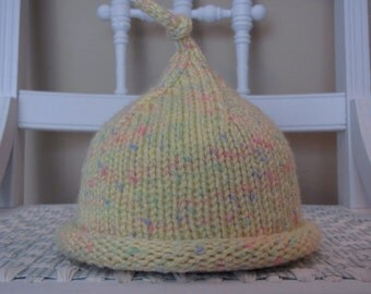 Infant Hat Hand Knit Yellow Multicolored with Top Knot