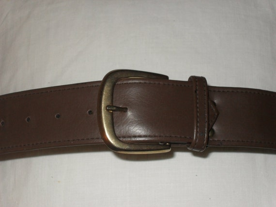 vintage 80s wide brown faux leather belt with by