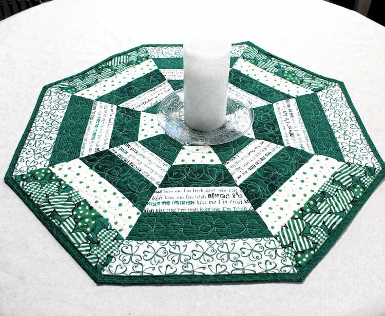 Octagon Quilted St Patricks Day Table Topper By