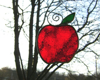 Red Apples Stained Glass Tree Ornament Halloween Teacher Graduation Harvest Mothers Day Yule Birthday Birthday Spring Wedding Valentines