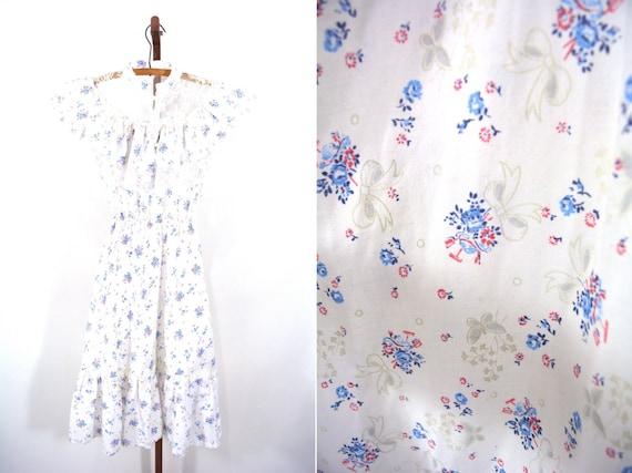 1970s dress vintage 70s novelty print prarie bohemian sundress S