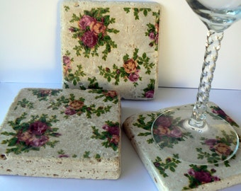 Coasters Old Country Rose Shabby Style Chic Natural Stone Tile 4x4 Drink Coaster Set of 4