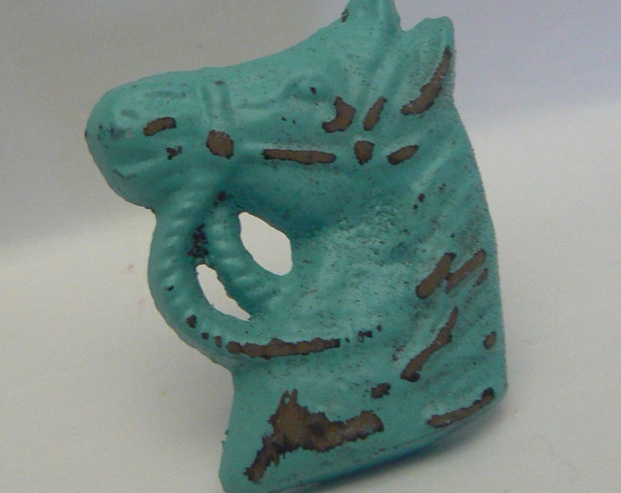 Horse Head Knob Cast Iron Shabby Style Chic Horsehead Distressed Aqua / Turquoise Drawer Pull / Knob / Cabinet Knobs