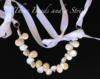 Freshwater Coin Pearl Necklace with a White Ribbon for the Girls or Young Ladies