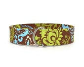 Modern Brown, Blue & Green Floral Fabric Belt in Custom Sizes Small Medium Large Preppy D Rings Women's Belt  1.5 inch Width