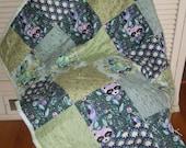 Baby Quilt Woodland Raccoon Blue & Green Acacia Raccoon by Tula Pink
