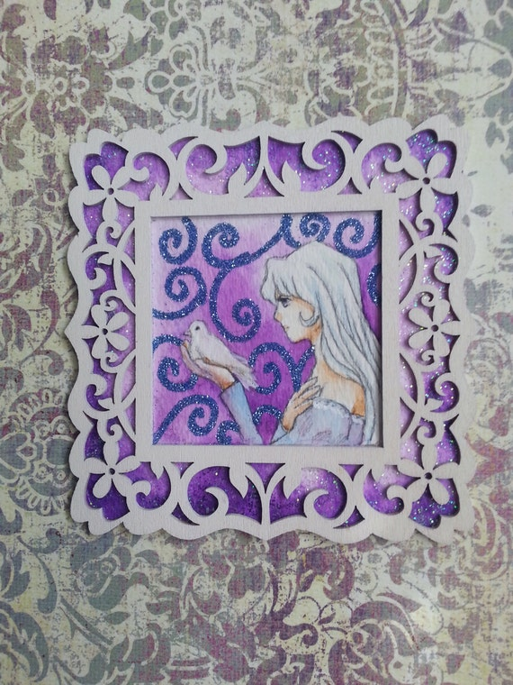 Amalthea Framed ORIGINAL Last Unicorn Watercolor