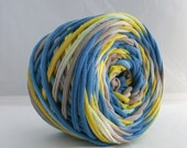 Hand Dyed T Shirt Yarn 60 Yards- Dark Blue/Lemon Yellow/Taupe