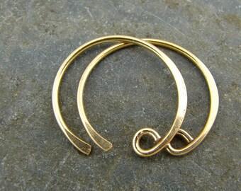 Handmade Demi Hoop Ear Wires -  24K Gold Vermeil - One Pair - ewhdhv