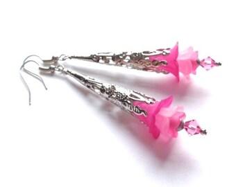 Lucite Flower Earrings, Crystal Swarovski Earrings, Long Earrings, Art Nouveau, Fuchsia, Pink Flower, Romantic Earrings