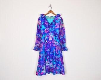 Vintage 60s 70s Blue Psychedelic Op Art Floral Print Tuxedo Ruffle Collar Babydoll Dress Mini Dress Party Dress 70s Dress 70s Hippie Dress S