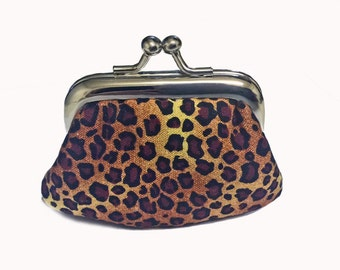 Leopard Spots  - Tiny Kiss Lock Metal Frame Purse