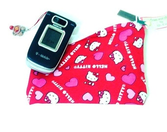 Kawaii Hello Kitty Pink Hearts Pouch / Cell Phone / Coin / Make Up / Medication / Organizer / Tampon and Sanitary Pad Case