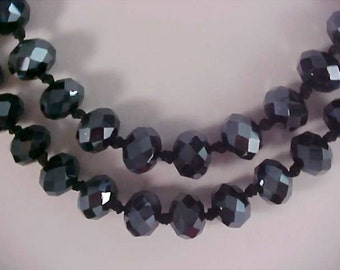 Incredible Hand Knotted BLACK Genuine CRYSTAL Sautoir Necklace ~ 100.8 grams