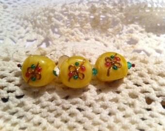 Yellow Lampwork beads
