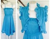 Vintage 70s 80s blue polka dot sun dress and jacket