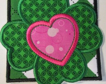 Shamrock Heart Square - Iron On or Sew On 4 Leaf Clover Embroidered Applique