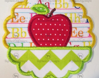 Iron On Applique - Back to School Apple Scallop