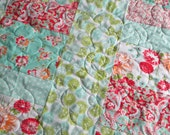 Lime Red Teal White Patchwork Lap Quilt - Throw Quilt - Wheelchair Blanket - Picnic Blanket