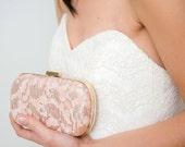 SALE | Blush Bridal Clutch | Bridesmaid Clutch | Lace Clutch | Sequin Clutch [Neige Box Clutch in Rosé]