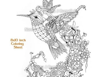 follow me fairy tangles printable coloring page by norma j burnell fairy riding hummingbird adult coloring books fairies and birds to color